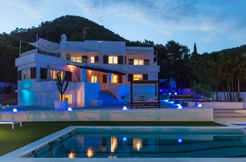 exterior views of villa night in Ibiza