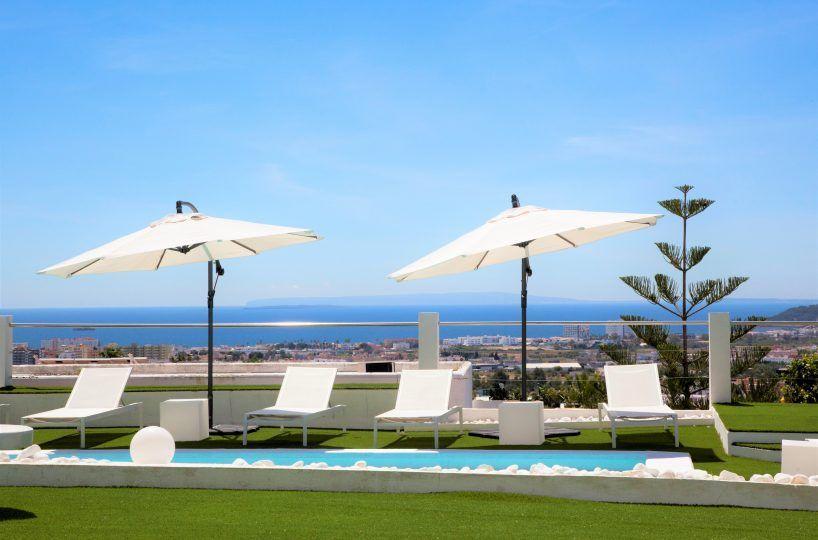garden with pool villa in ibiza