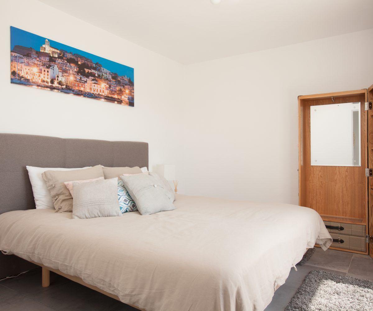 small bedroom of villa in ibiza