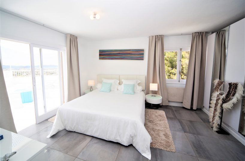 bedroom with terrace villa in ibiza